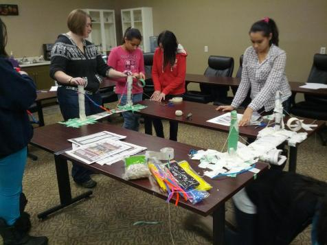 Girls Inc building newspaper bridges